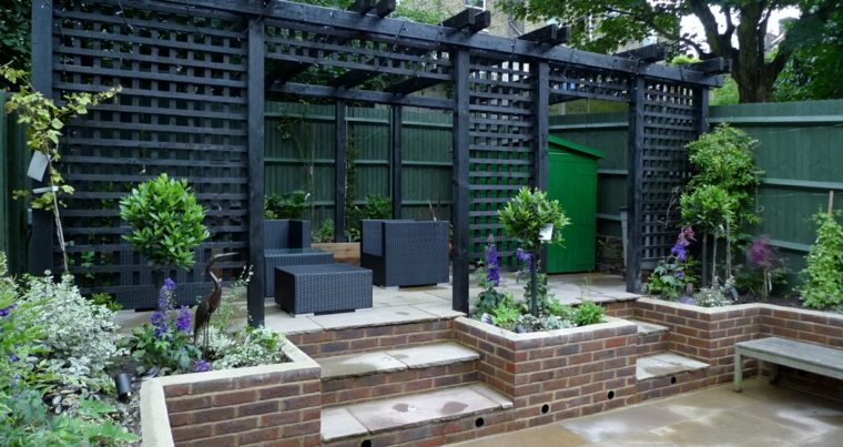 tonalidades negro sillones asas modernas estantes