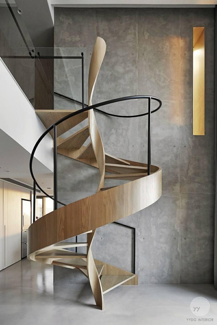 vista superior alta moderna madera paredes