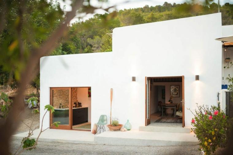 cabañas rurales paredes-exteriores-blancas