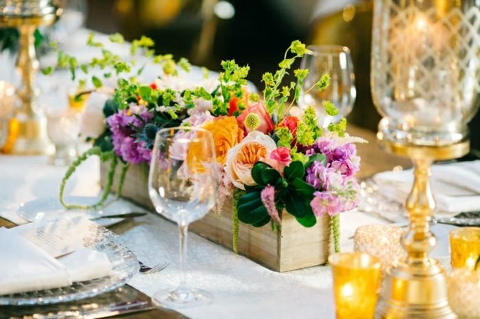 centros de mesa para boda-flores-maceta-madera