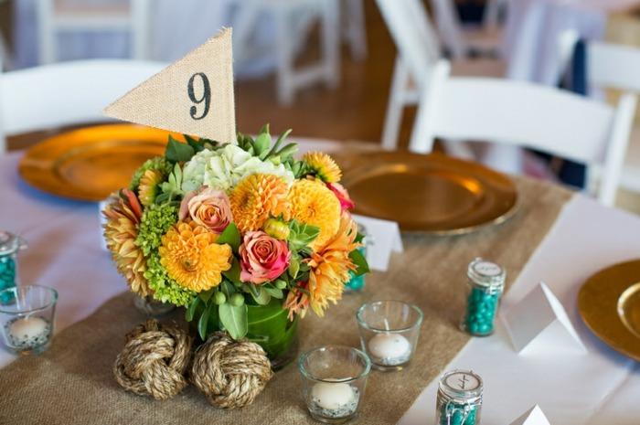 centros de mesa para boda-flores-naranja-amarillo-verde