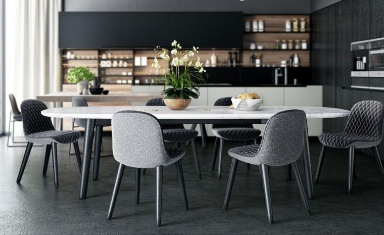Mesas y sillas de comedor al estilo monocrom tico en for Sillas grises para comedor
