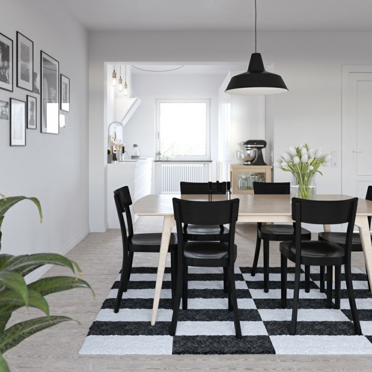 Mesas y sillas de comedor al estilo monocrom tico en for Diseno living comedor