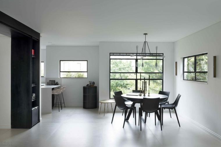 comedor-diseno-blanco-negro-interiores-modernos