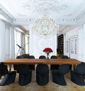 comedor-diseno-blanco-negro-mesa-madera
