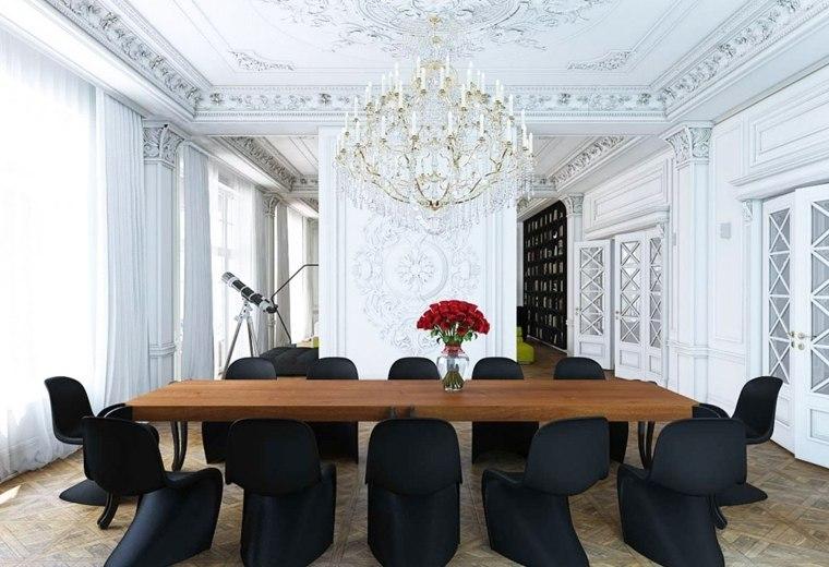 mesas y sillas de comedor al estilo en blanco y negro