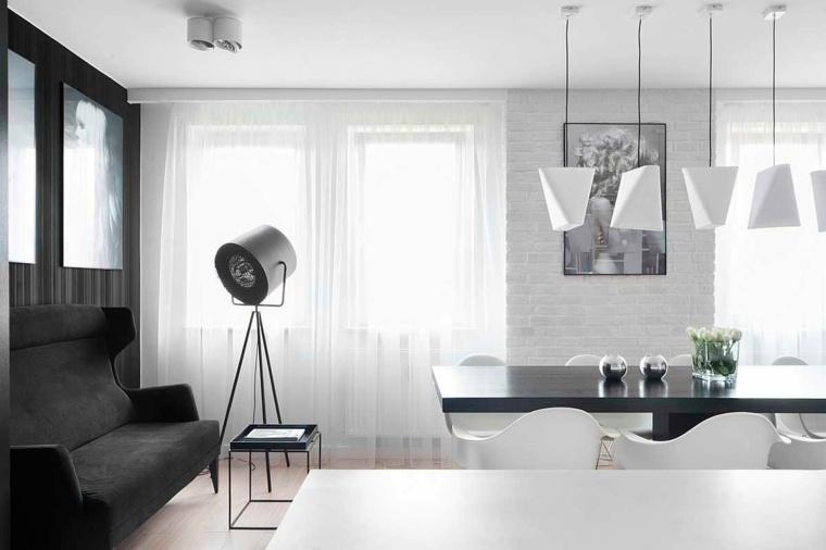 comedor-diseno-blanco-negro-opciones-modernas-interior