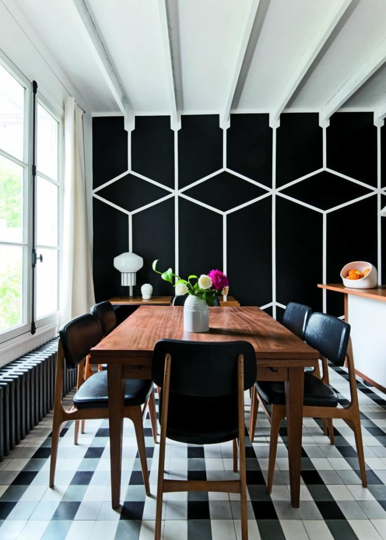comedor-diseno-blanco-negro-pared-bella-estilo-geometrico