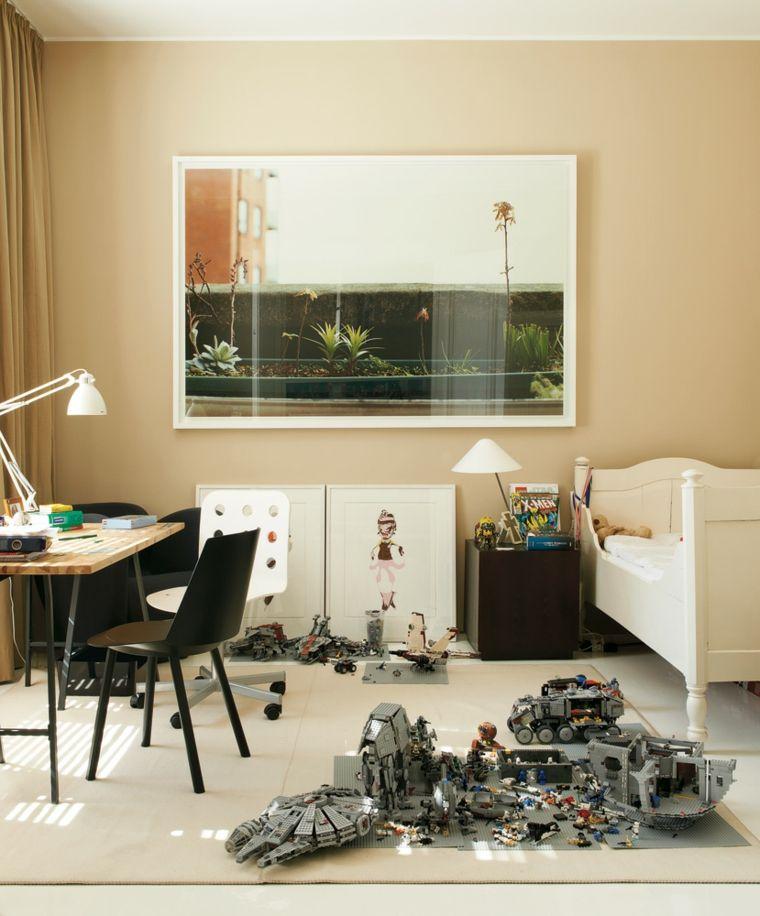 cuadros modernos-habitaciones-diseno-modesto-paredes-beige