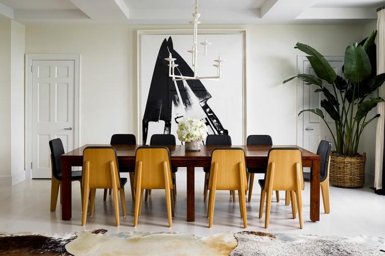 cuadros modernos-interiores-comedor-amplio-muebles-estilo