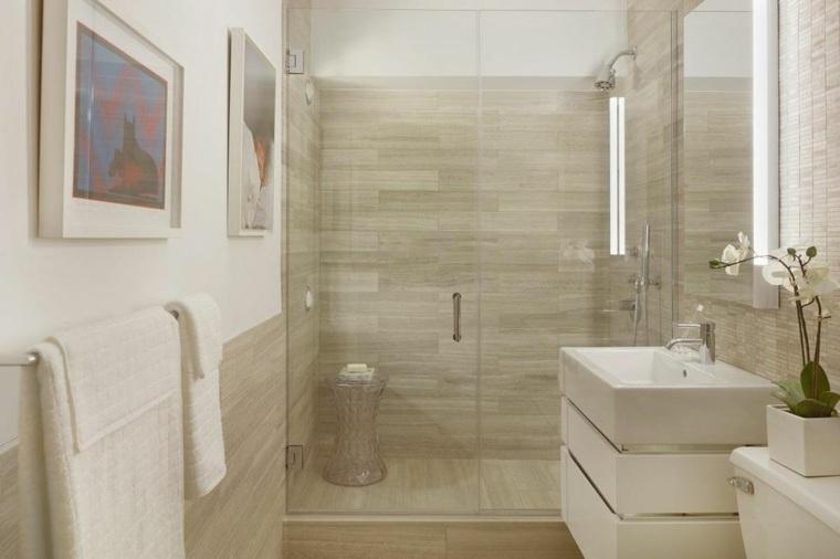 decoración de baños pequeños-ducha-losas-granito