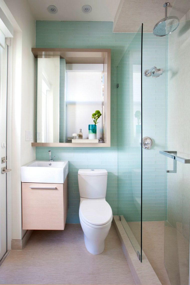 decoración de baños pequeños-ducha-mampara-cristal