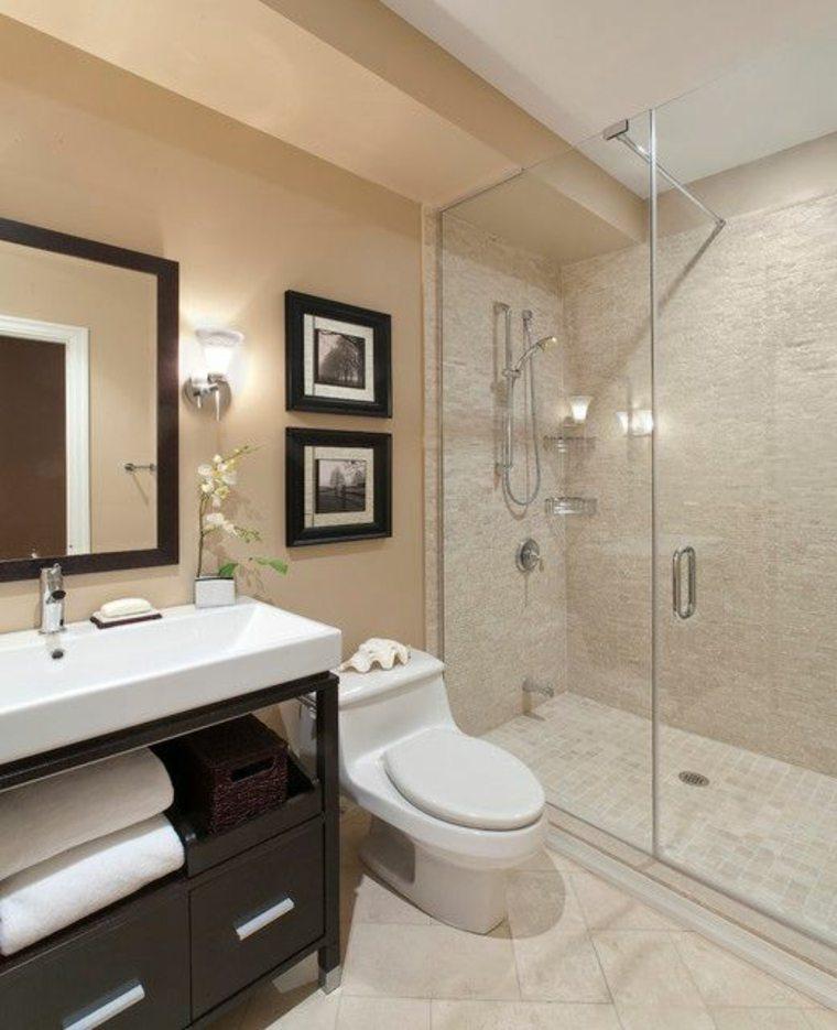 decoración de baños pequeños-ducha-mampara-mosaico