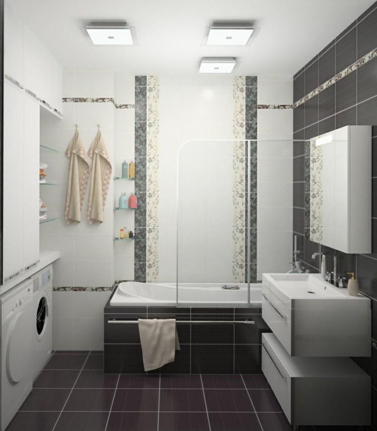 decoración de baños pequeños-losas-negras