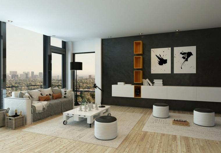 decoracion paredes salon moderno interiores