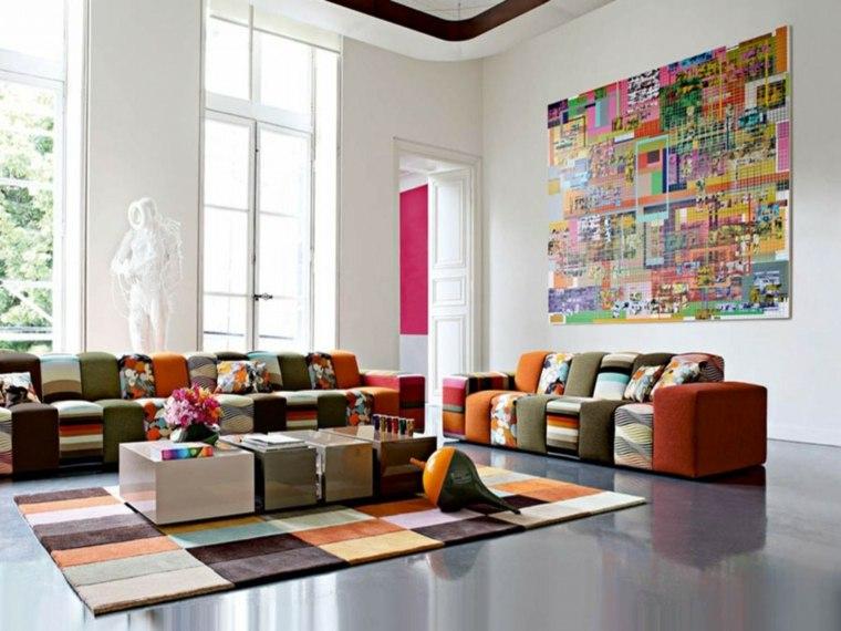 decorar paredes salones modernos interior
