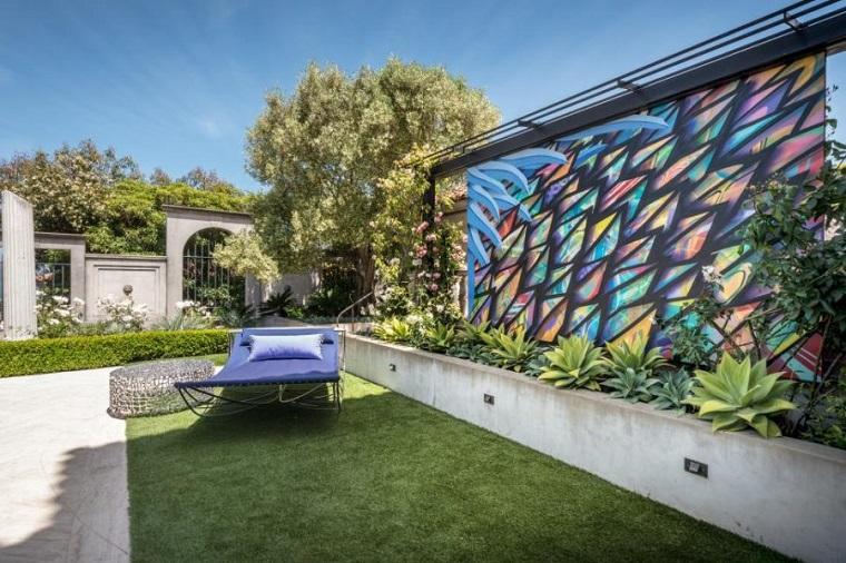 diseño de exteriores-jardines-pequenos-pared-decoracion
