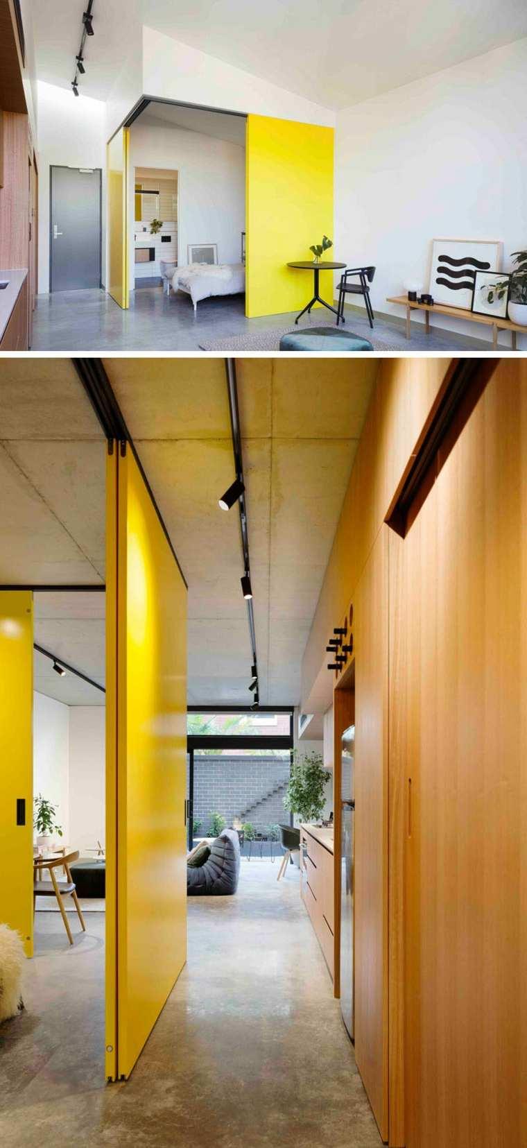 diseno interior-apartamento-modernos-entrada-casa-puertas-amarillas
