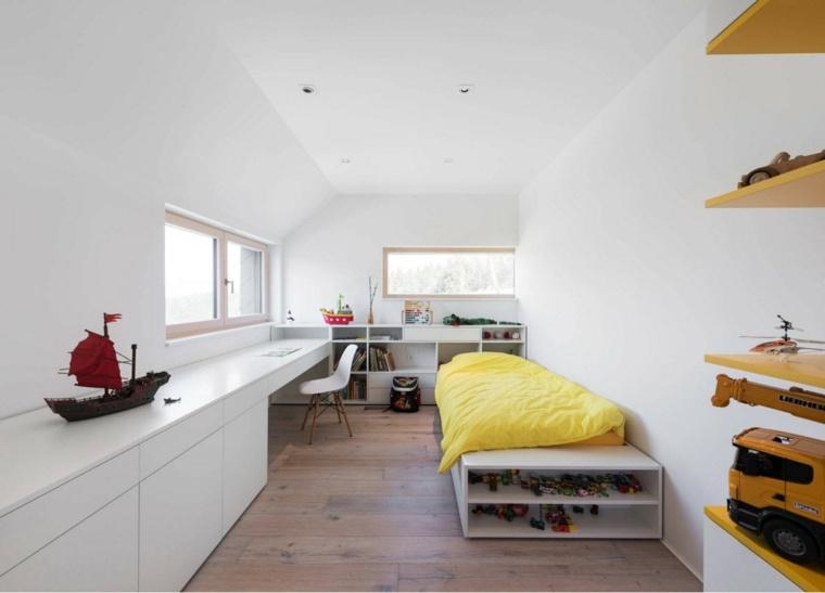 espacio-largo-estrecho-muebles-blancos-dormitorio-ninos