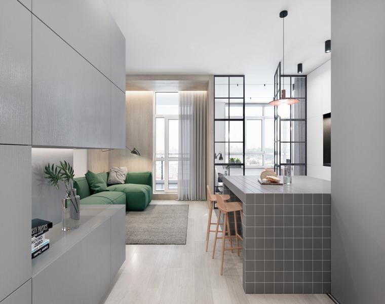 esquemas de colores de cocina atemporales Estudios Y Apartamentos Tipo Loft Con Decoraciones Atemporales