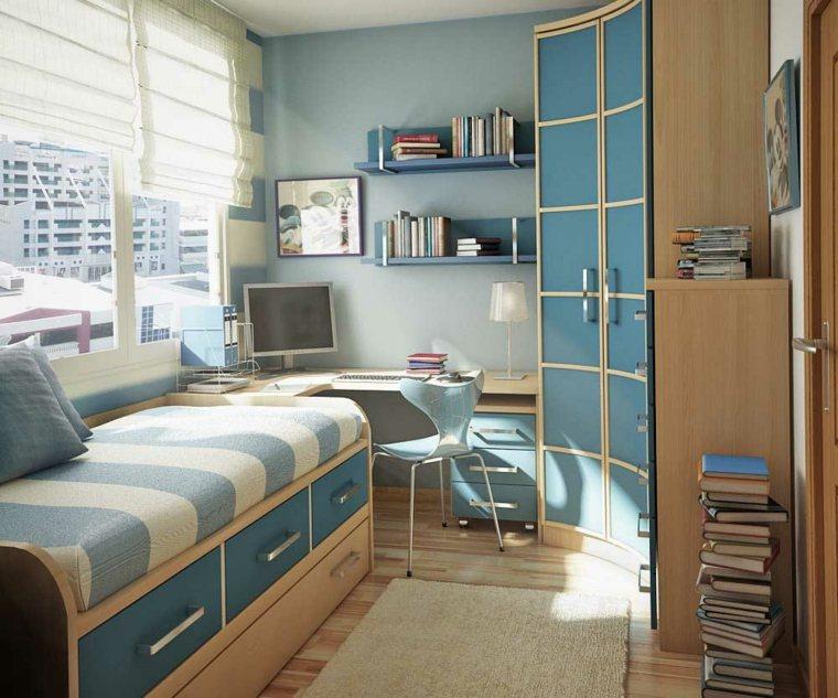habitacion-azul-madera-armario-esquina-diseno-moderno