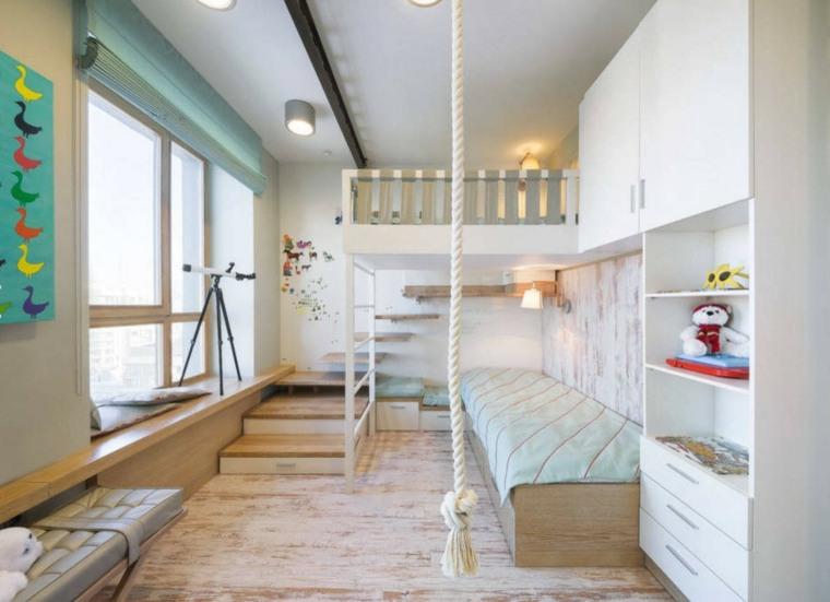 habitaciones infantiles pequeñas-dos-camas-blancas-diseno-moderno