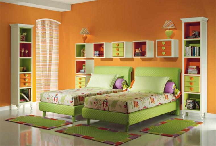 habitacion-infantil-dos-camas-color-verde-estilo
