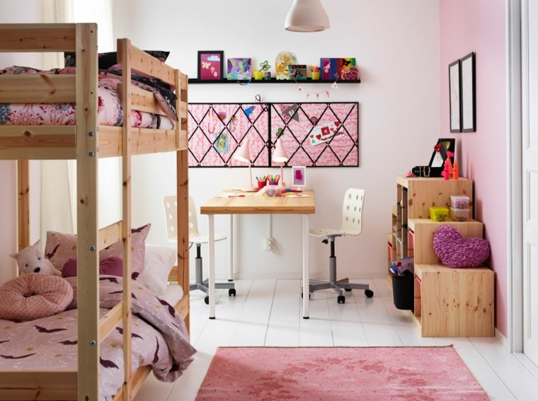 habitacion-ninos-literas-madera-espacio-pequeno