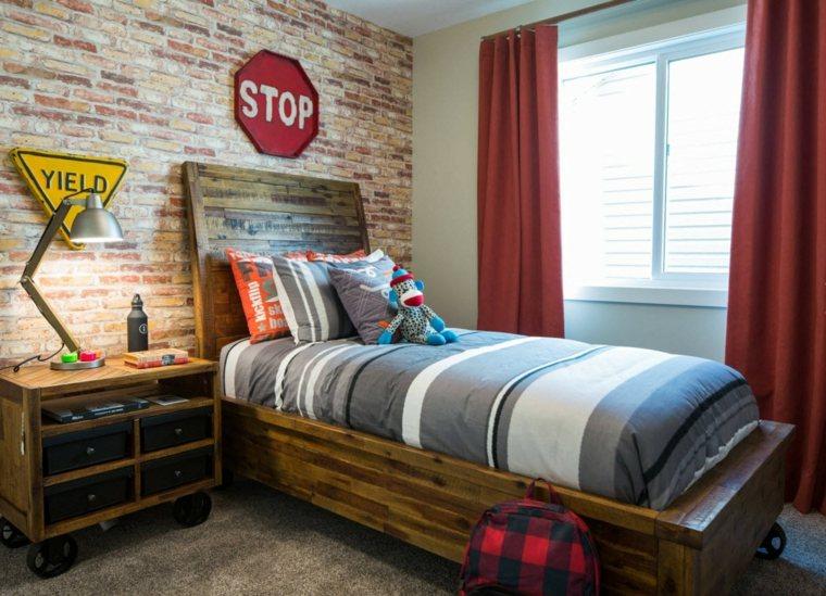 habitacion-ninos-muebles-rusticos-pequena-estilo-pared-ladrillo