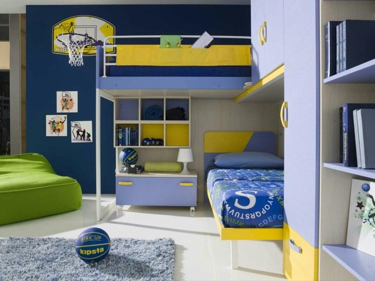 habitaciones-infantiles-nino-cama-azul-amarillo-estilo