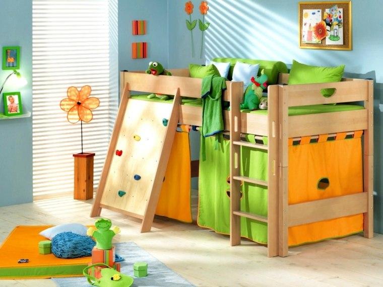 habitaciones-infantiles-nino-cama-madera-color-verde-bello