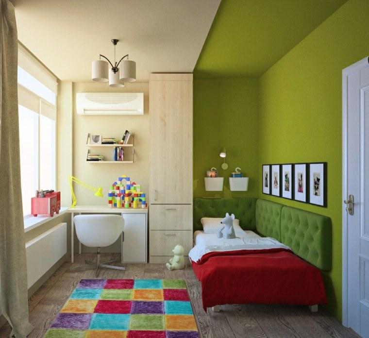habitaciones infantiles para niñas-pared-verde