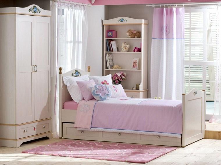 habitaciones infantiles para niñas-blanco-rosa-blanco