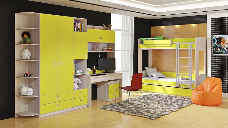 habitaciones infantiles para niñas-color-lima-diseno-moderno