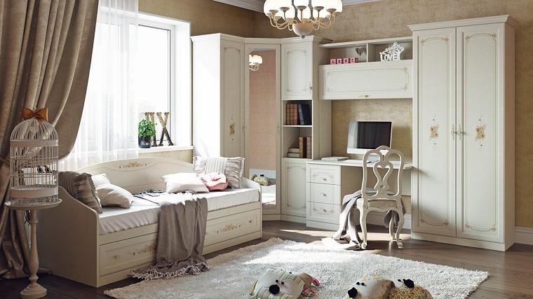 habitaciones infantiles para niñas-muebles-blancos-opciones