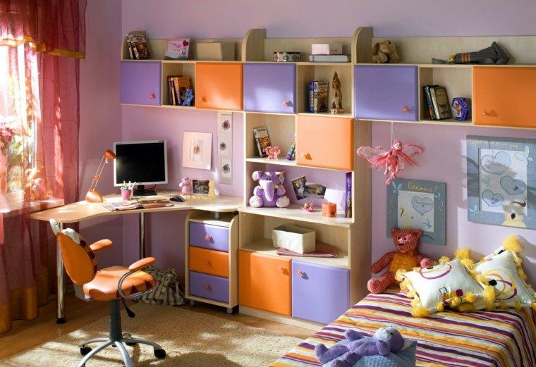 habitaciones-infantiles-para-ninas-muebles-originales-naranja-purpura