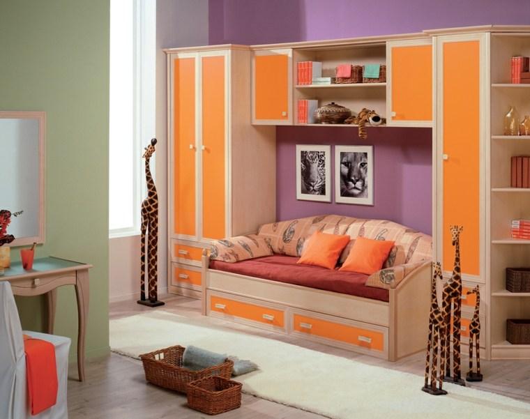 habitaciones-infantiles-para-ninas-ninos-naranja-madera-muebles