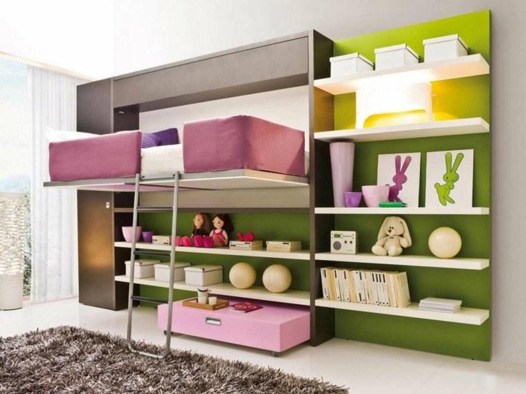 habitaciones infantiles pequeñas-cama-flotante-diseno