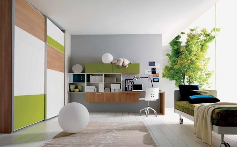 habitaciones infantiles pequeñas-cama-muebles-madera-diseno-natural