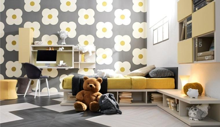 habitaciones infantiles pequeñas-cama-papel-pared-flores
