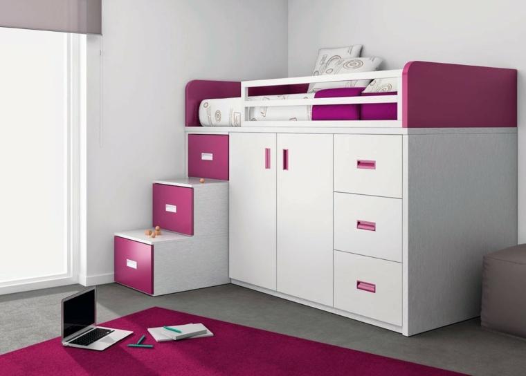 habitaciones infantiles pequeñas-color-rosa-chicas