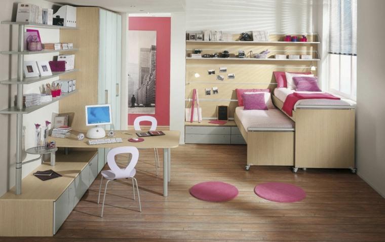 habitaciones infantiles pequeñas-color-rosa-ninas