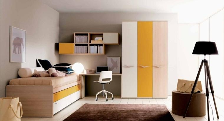 habitaciones infantiles pequeñas-muebles-bellos-madera-diseno-moderno