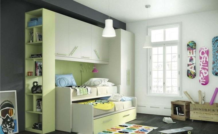 habitaciones infantiles pequeñas-muebles-solo-una-pared-diseno