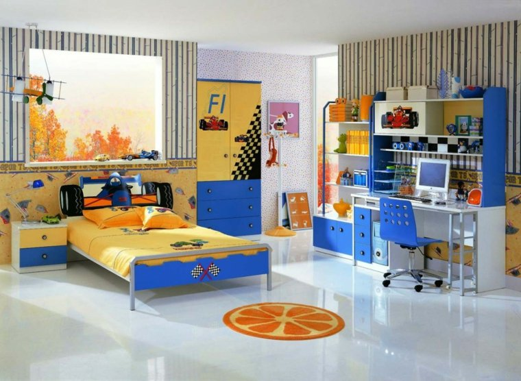 habitaciones-muebles-azul-coches-estilo