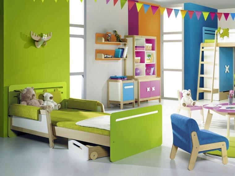 habitaciones-ninos-cama-color-verde-diseno