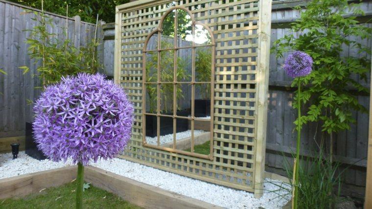 ideas para decorar jardín-espejos-madera-opciones