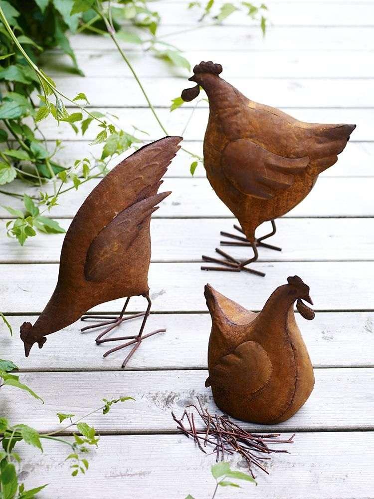 jardines acero corten gallinas-figuras-patio