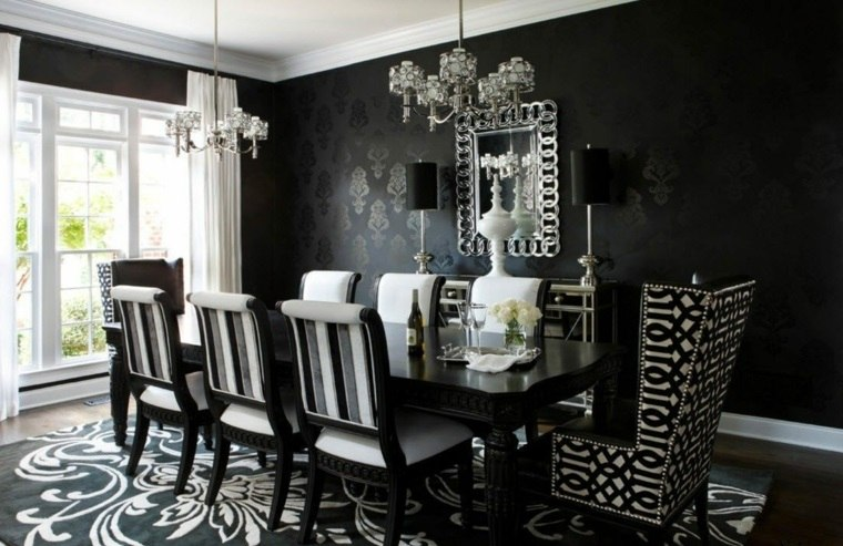 mesas y sillas de comedor-diseno-blanco-negro-alfombra