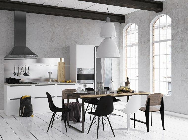 mesas y sillas de comedor-diseno-blanco-negro-cocina-suelo-madera